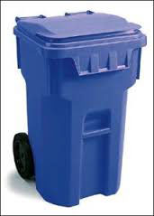 Blue trash can photo